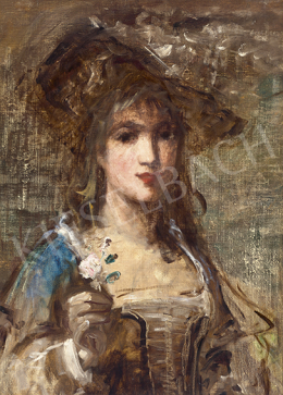 Bruck Lajos - Kalapos párizsi lány virággal