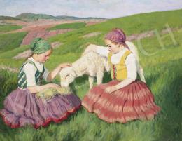 Glatz Oszkár - Kislányok báránykával, 1939