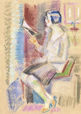 Vén Emil - Art deco nő (Olvasó nő műteremben), 1930