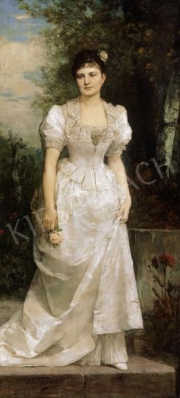 Vastagh György - Virágot tartó hölgy, fehér selyemruhában