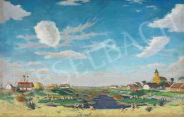 Fényes Adolf - Alföldi táj szélfútta felhőkkel