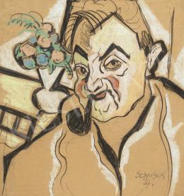 Scheiber Hugó - Pipázó önarckép