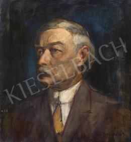 Iványi Grünwald Béla - Önarckép kék háttérrel