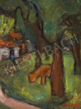 Czóbel Béla - Kistehén a fák között (Dieppe), 1926-27