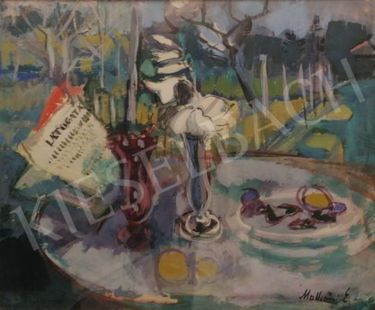 Eladó Mattioni Eszter - Asztali csendélet virággal és gyümölccsel festménye