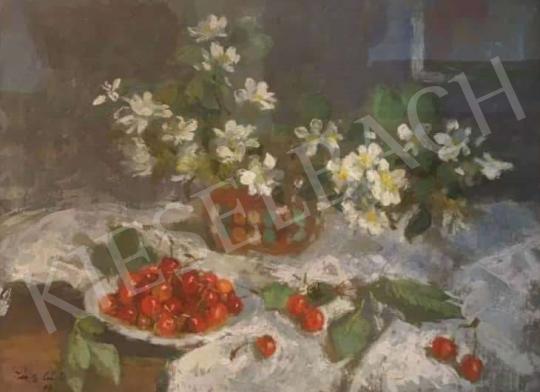 Eladó Tóth B. László - Asztali csendélet virággal és cseresznyével, 1971 festménye