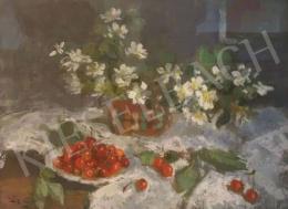 Tóth B. László - Asztali csendélet virággal és cseresznyével, 1971