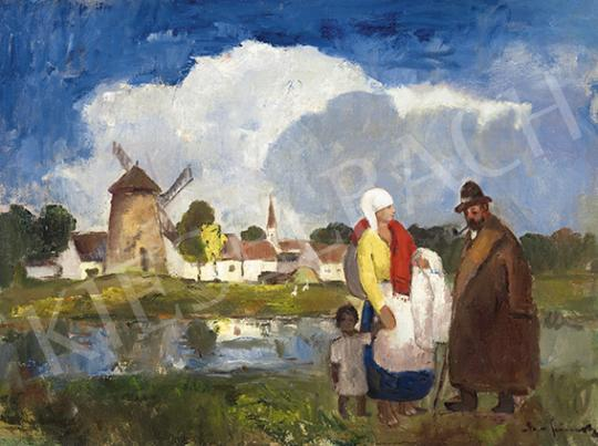 Eladó  Iványi Grünwald Béla - Magyar táj szélmalommal, 1930-as évek festménye