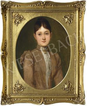 Eladó  Lotz Károly - Fiatal lány barna ruhában festménye