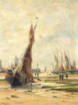 Eladó   Louis Etienne Timmermans - Vitorlások tengerparton festménye