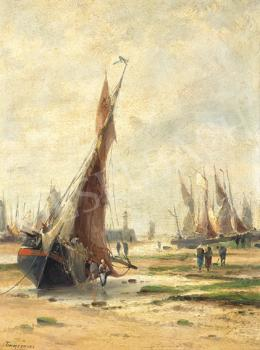 Louis Etienne Timmermans - Sailboats at the Seashore