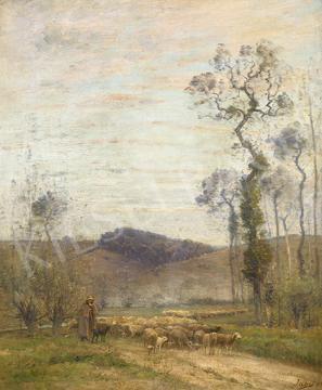 Eladó  Louis Aimé Japy - Bárányokat terelő, 1893 festménye