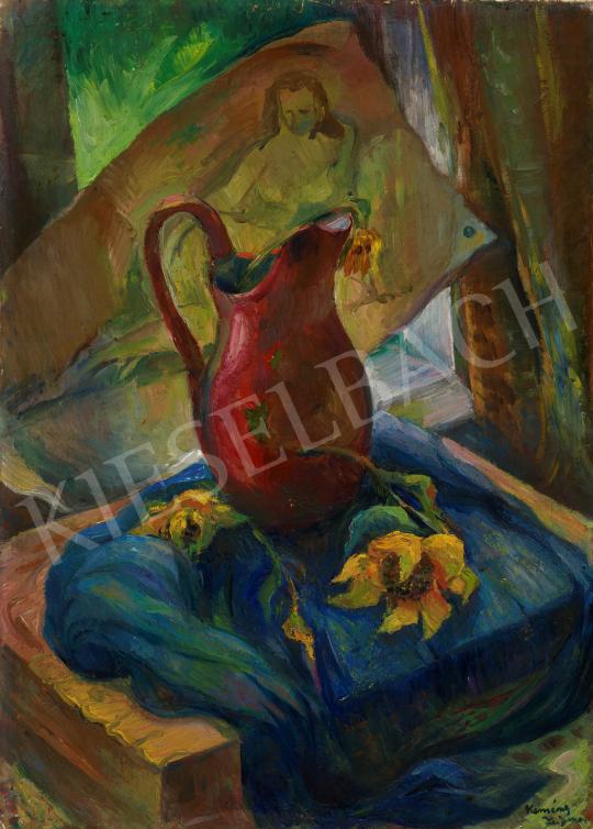 Kemény Zsigmond - Csendélet háttérben festménnyel festménye