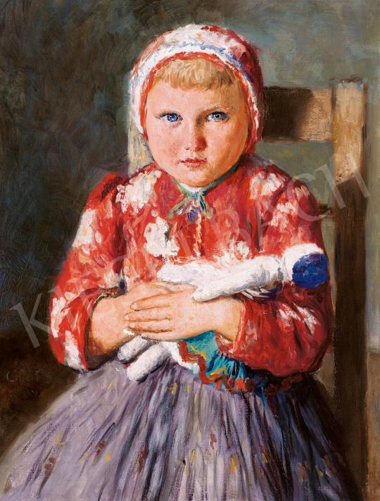 Glatz Oszkár - Kékszemű kislány babával, 1941 festménye