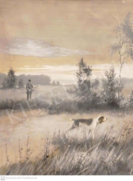 Eladó Neogrády Antal - Vadászat német vizslával (A vadászkutya) festménye