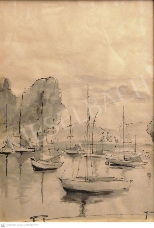 Eladó Ismeretlen magyar festő, 20. század - Balatonföldvári kikötő festménye