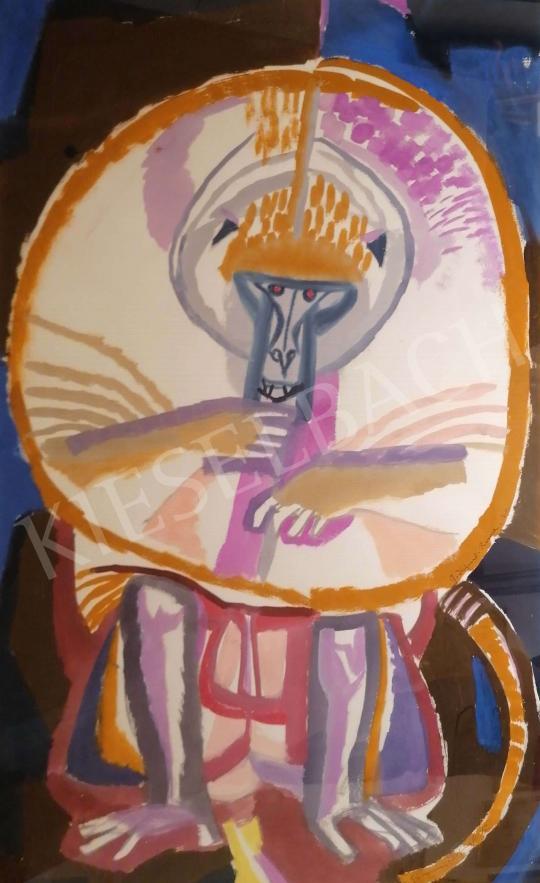 Eladó  Hajnal János - Falatozó fehér majom, 1960-as évek festménye