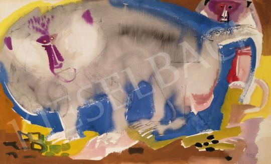 Eladó  Hajnal János - Az alfahím, 1962 festménye