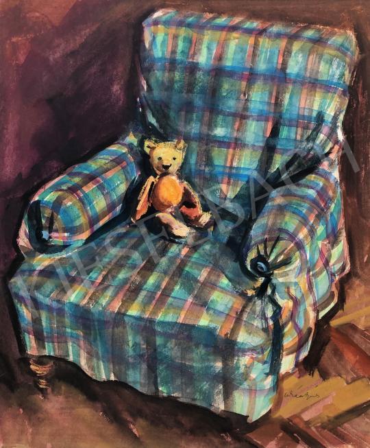 Lukács Ágnes - Mackó a fotelben, 1970 festménye