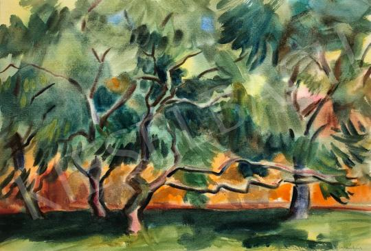 Eladó Lukács Ágnes - Fák a narancssárga ház előtt, 1982 festménye