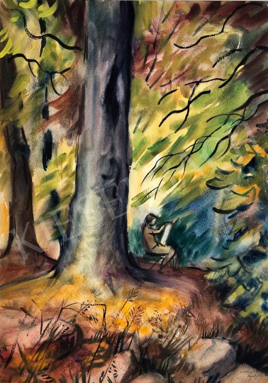Eladó Lukács Ágnes - Festőnő az erdőben (Plein Air), 1980 festménye