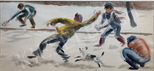 Eladó Lukács Ágnes - Játék a hóban, 1982 festménye