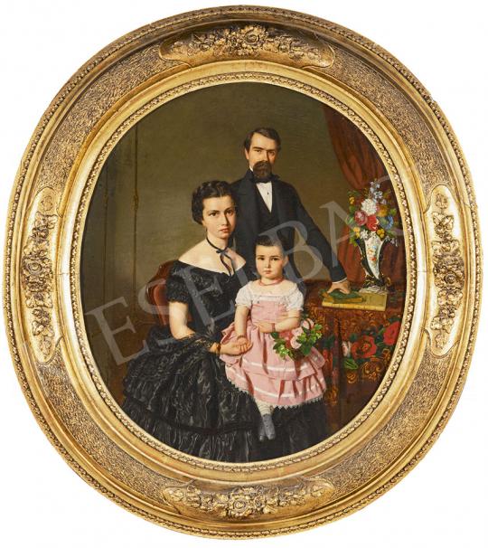 Canzi Ágost - Budapesti selyemkereskedő és családja (Wabrosch József és családja), 1857 festménye