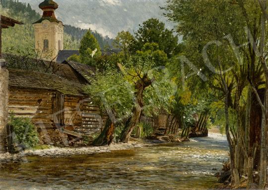 Gundelfinger Gyula - Patakpart fákkal Korompán, 1873 festménye