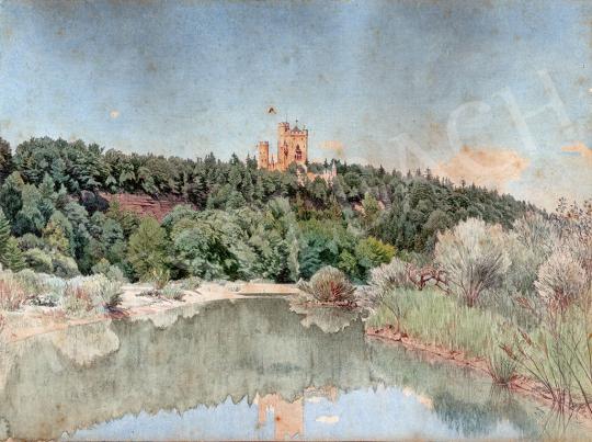 Gundelfinger Gyula - Folyópart háttérben várkastéllyal, 1870 körül festménye