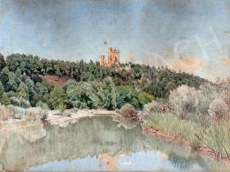Gundelfinger Gyula - Folyópart háttérben várkastéllyal, 1870 körül
