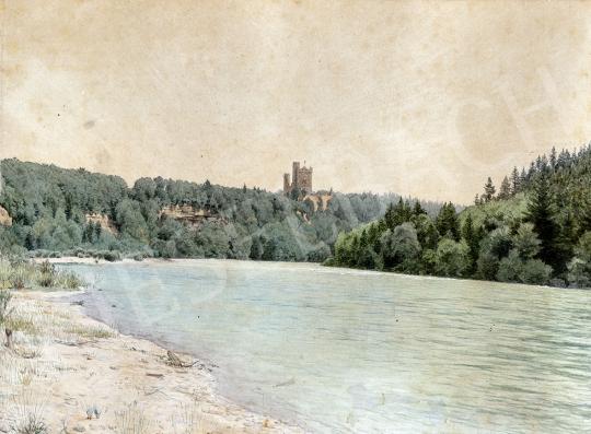 Gundelfinger Gyula - Kastély a vízparton, 1870 körül festménye