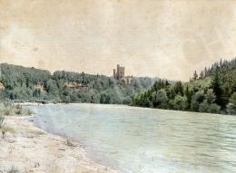 Gundelfinger Gyula - Kastély a vízparton, 1870 körül