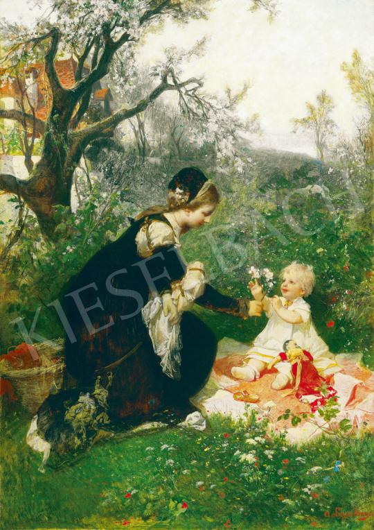 Liezen-Mayer Sándor - Kertben (Anyai szeretet), 1870 körül festménye