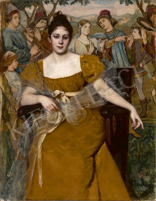 Vogel Ilona - Fiatal lány falikárpit előtt, 1896 festménye