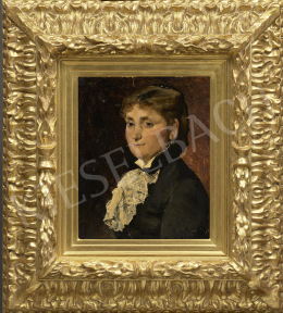 Munkácsy, Mihály - Woman with White Lace Frill (Portrait of Madame Benoit), 1881