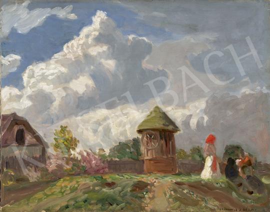Iványi Grünwald Béla - Nagybányai táj napsütötte felhőkkel (A piros napernyő), 1900-as évek eleje festménye