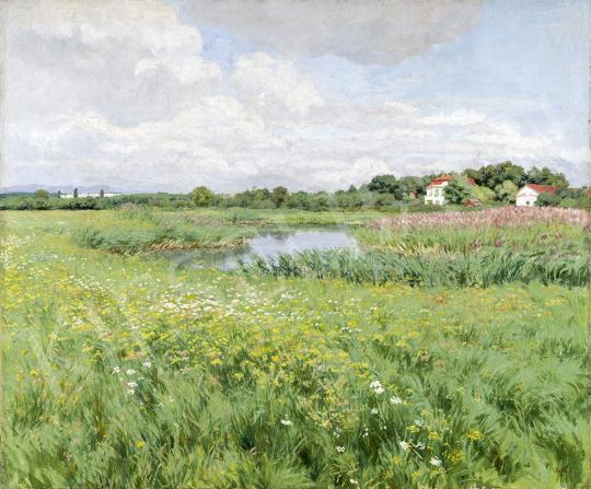 Glatz Oszkár - Tavaszi rét áradáskor, 1910-es évek festménye