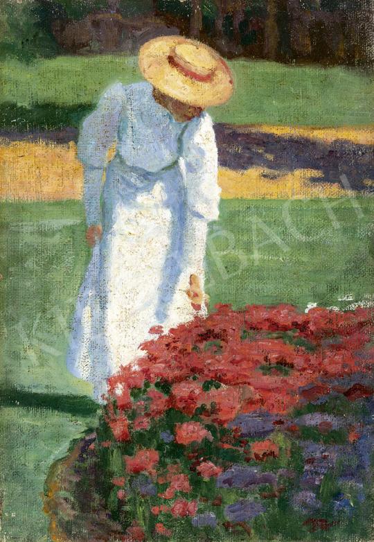 Tagyosi Rátz Péter - Kalapos nő a nagybányai parkban, 1908 körül festménye