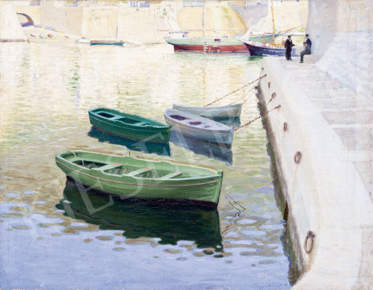 Tagyosi Rátz Péter - Mediterrán kikötő, 1914 festménye