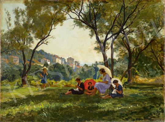 Nádler Róbert - Napsütötte kertben (Kirándulás, Istria) festménye