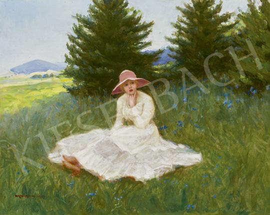 Mousson Tivadar - Fiatal kalapos lány a réten, 1924 festménye