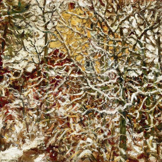 Perlmutter Izsák - Első hó (Kilátás a művész műterméből), 1920 festménye