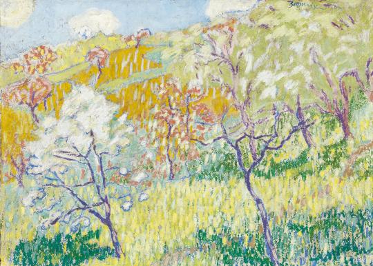 Boromisza Tibor - Virágzó fák a domboldalon (Tavasz Nagybányán), 1908 festménye