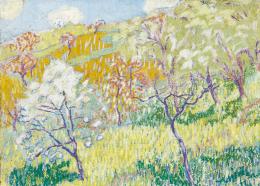 Boromisza, Tibor - Trees in Bloom on the Hillside (Spring in Baia Mare), 1908