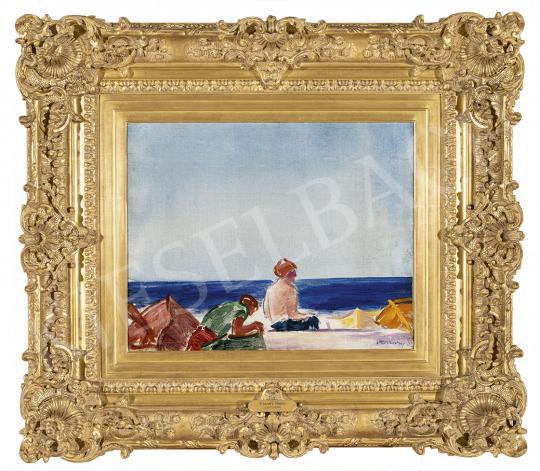 Vaszary János - Az olasz Riviérán (Strandolók, csónakok, tengerpart) festménye