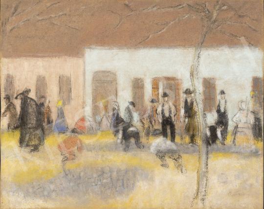 Rippl-Rónai József - Kövezik a kaposi Fő utcát festménye