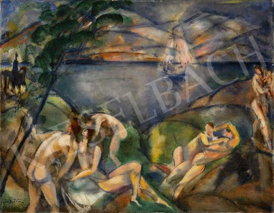 Márffy Ödön - Aktok a Vízparton, 1913 körül festménye