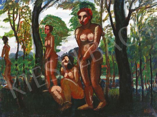 Réth Alfréd - Aktok az erdőben, 1909 festménye