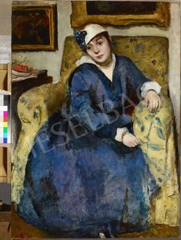 Hatvany Ferenc - Kalapos hölgy fotelben a Hatvany-villában, 1915