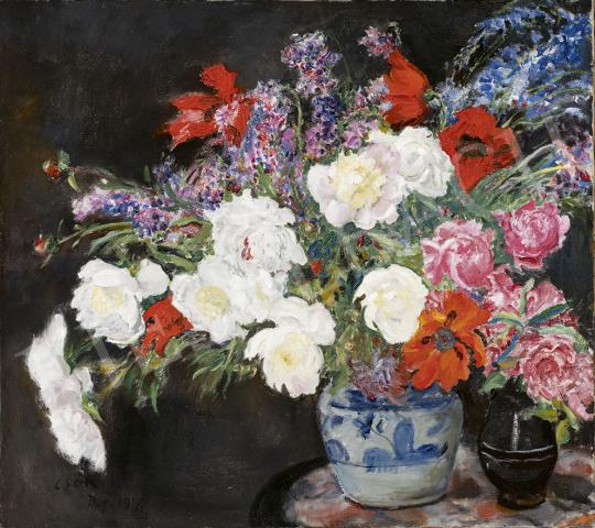 Csók István - Virágcsendélet pipacsokkal és rózsával, 1918 festménye